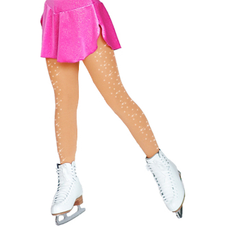 ChloeNoel TB8830 Footed Skating Tights w/ Crystals 2 Sides