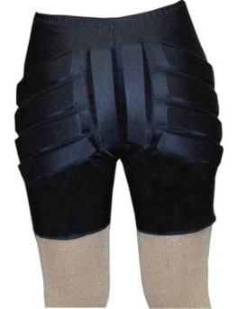 PROTECTION SILVER LINING PADDED FIGURE SKATING SHORTS BLACK ADULT SMALL